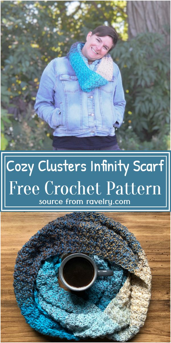 Free Crochet Cozy Clusters Infinity Scarf Pattern