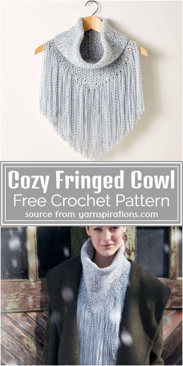 Free Crochet Cozy Fringed Cowl Pattern