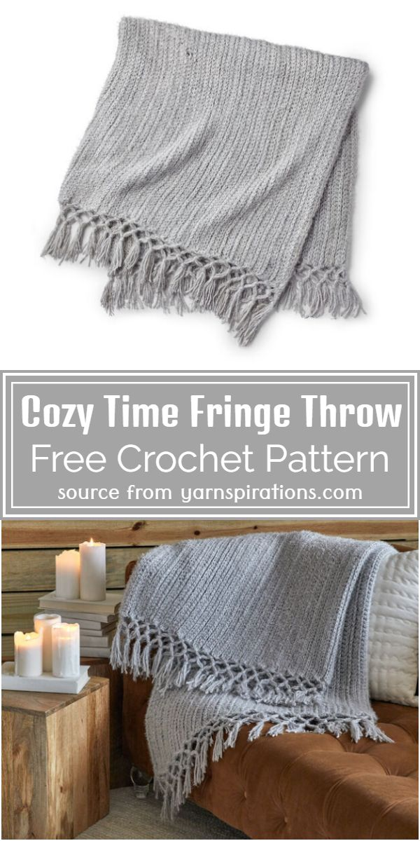 Free Crochet Cozy Time Fringe Throw Pattern