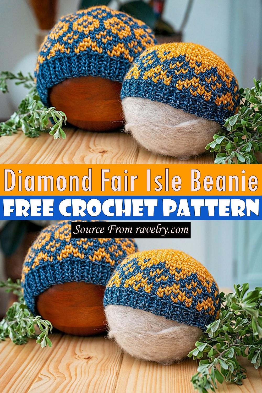 Free Crochet Diamond Fair Isle Beanie Pattern