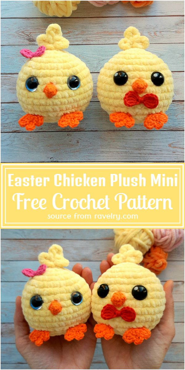 Free Crochet Easter Chicken Plush Mini Pattern