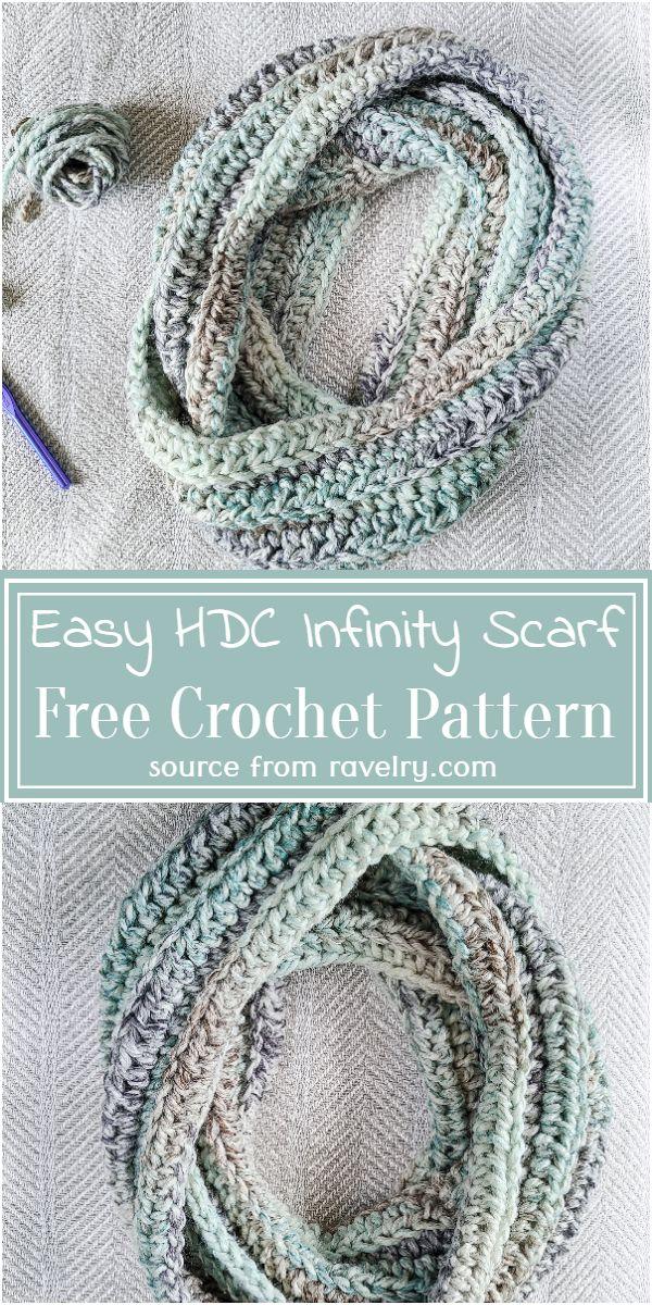 Free Crochet Easy HDC Infinity Scarf Pattern
