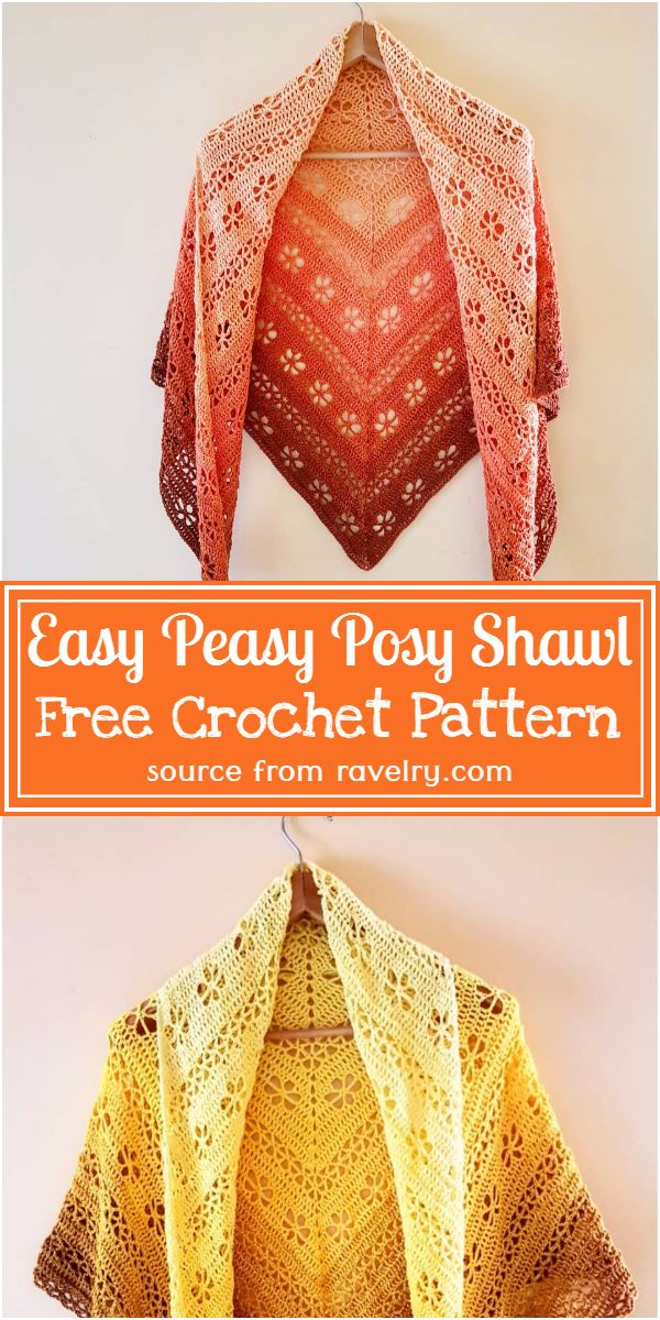 Free Crochet Easy Peasy Posy Shawl Pattern