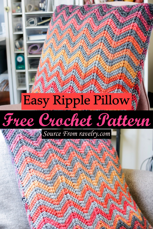 Free Crochet Easy Ripple Pillow Pattern