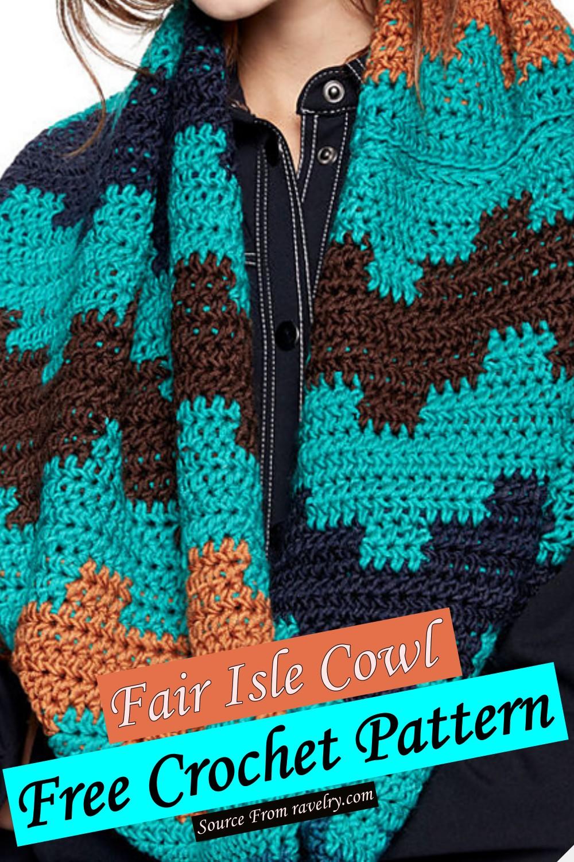 Free Crochet Fair Isle Cowl Pattern