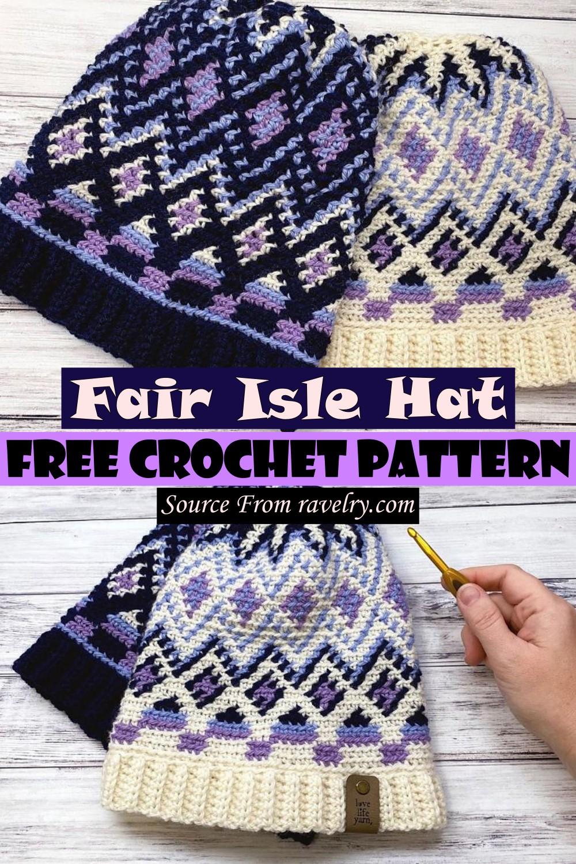 Free Crochet Fair Isle Hat Pattern