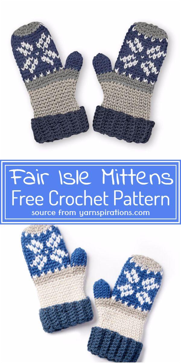 Free Crochet Fair Isle Mittens Pattern