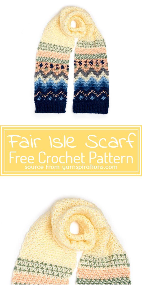 Free Crochet Fair Isle Scarf Pattern