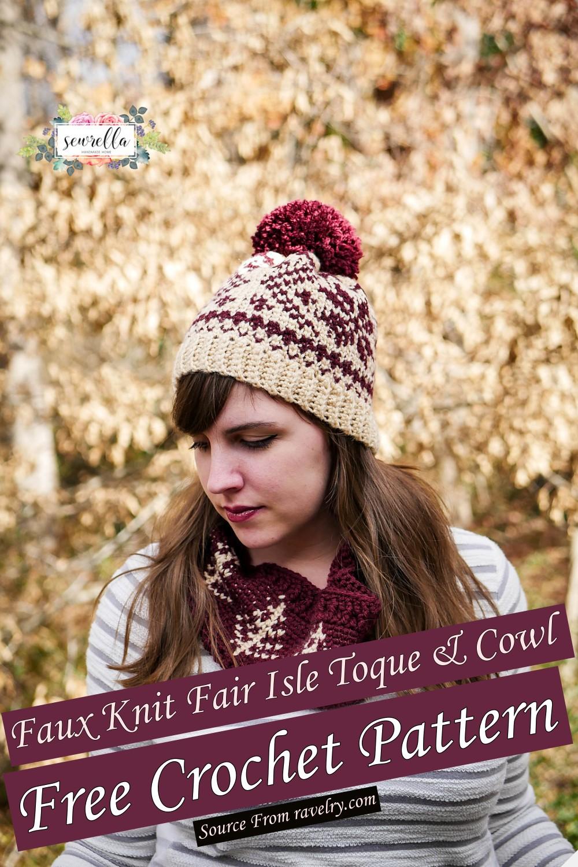 Free Crochet Faux Knit Fair Isle Toque & Cowl Pattern