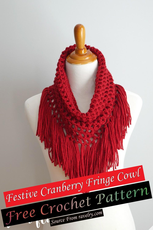 Free Crochet Festive Cranberry Fringe Cowl Pattern