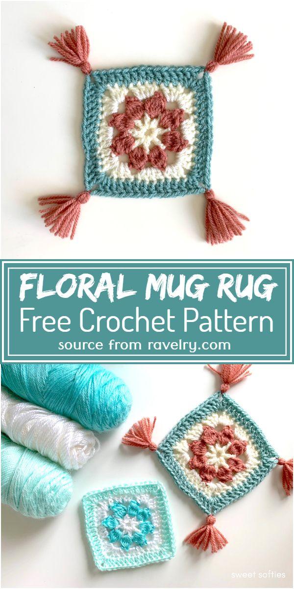 Free Crochet Floral Mug Rug Pattern