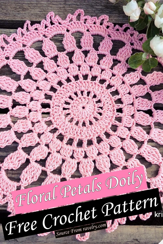 Free Crochet Floral Petals Doily Pattern