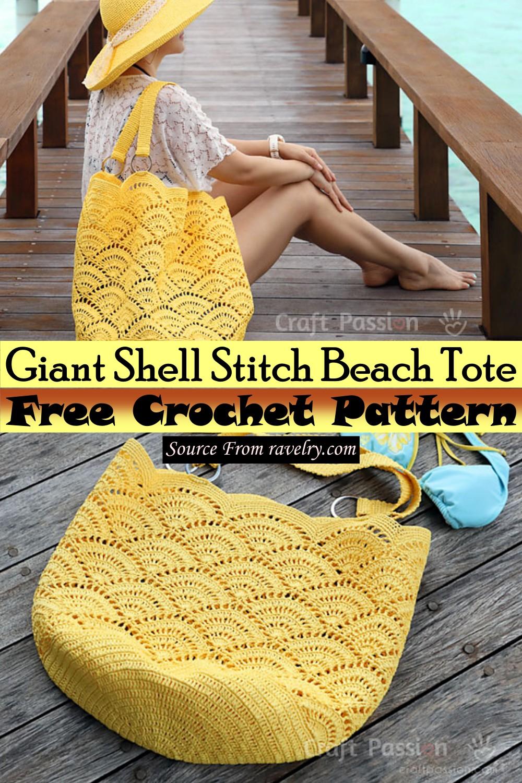 Free Crochet Giant Shell Stitch Beach Tote Pattern