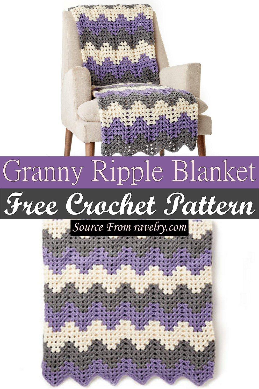 Free Crochet Granny Ripple Blanket Pattern