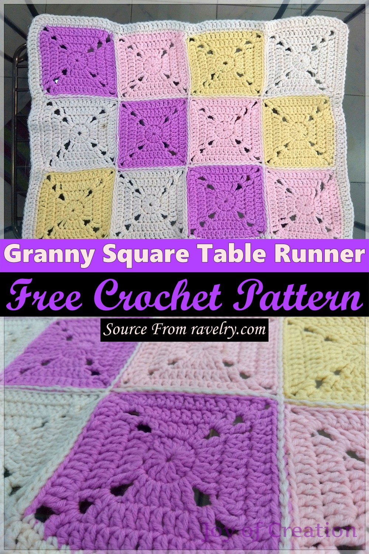 Free Crochet Granny Square Table Runner Pattern