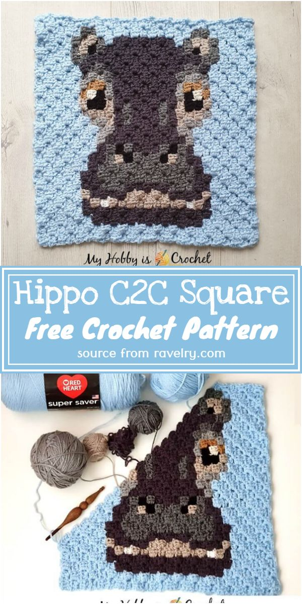 Free Crochet Hippo C2C Square Pattern