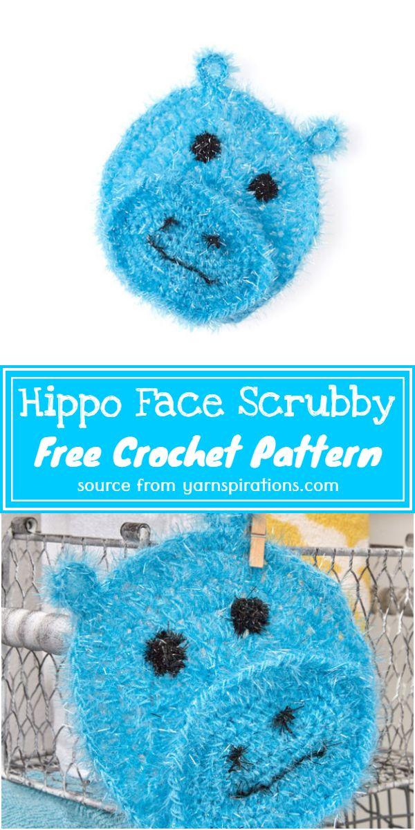 Free Crochet Hippo Face Scrubby Pattern