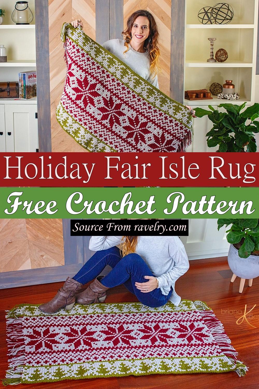 Free Crochet Holiday Fair Isle Rug Pattern