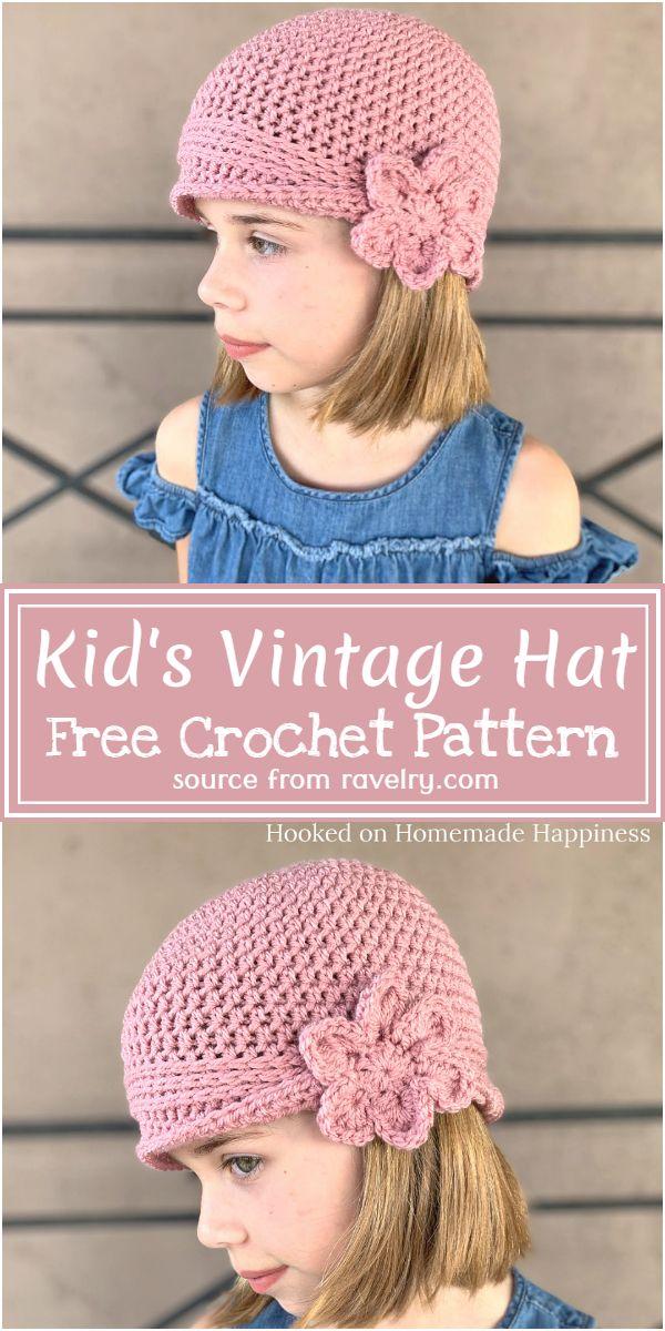 Free Crochet Kid's Vintage Hat Pattern