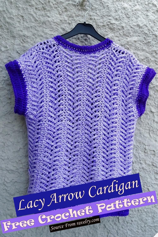 Free Crochet Lacy Arrow Cardigan Pattern