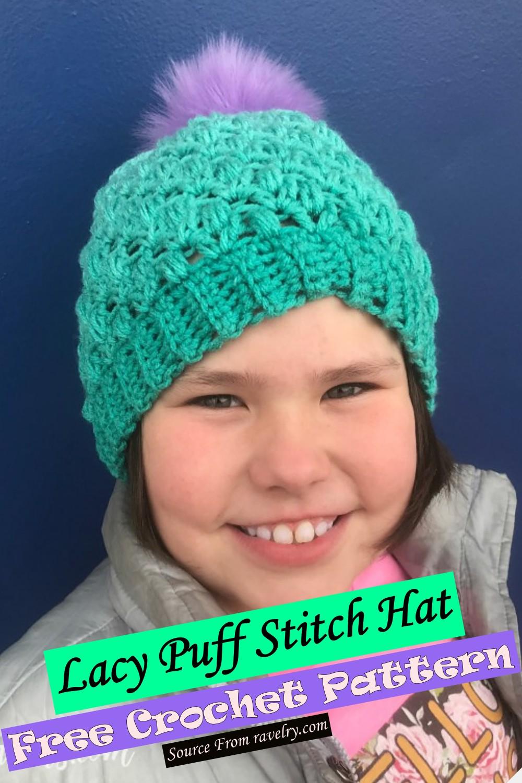 Free Crochet Lacy Puff Stitch Hat Pattern