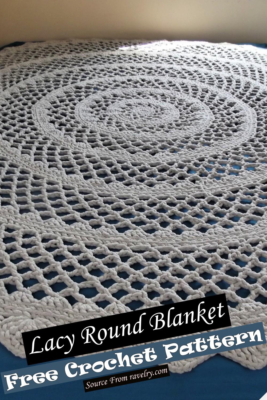 Free Crochet Lacy Round Blanket Pattern
