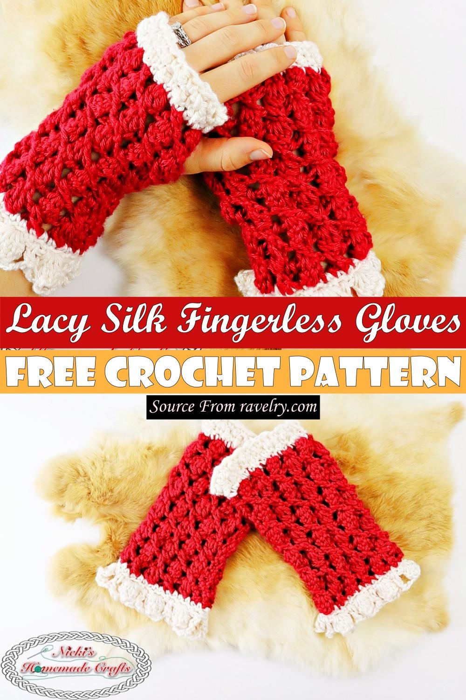 Free Crochet Lacy Silk Fingerless Gloves Pattern