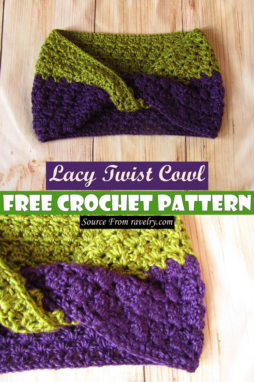 Free Crochet Lacy Twist Cowl Pattern