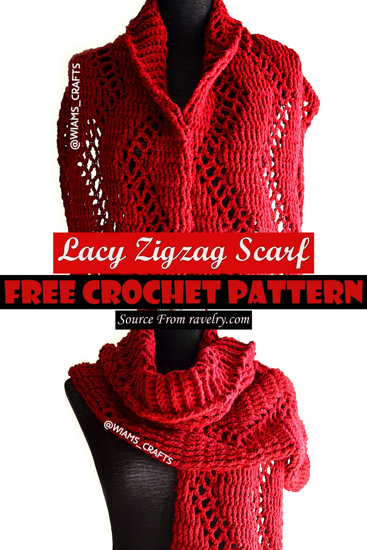 Free Crochet Lacy Zigzag Scarf Pattern