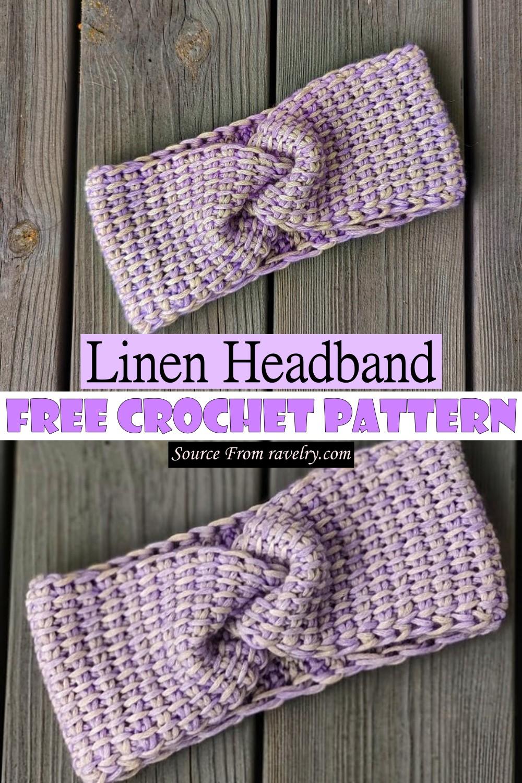 Free Crochet Linen Headband Pattern