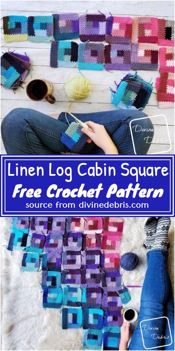 Free Crochet Linen Log Cabin Square Pattern