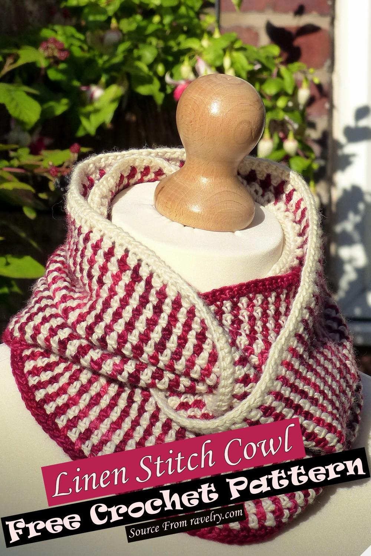 Free Crochet Linen Stitch Cowl Pattern