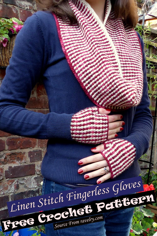 Free Crochet Linen Stitch Fingerless Gloves Pattern