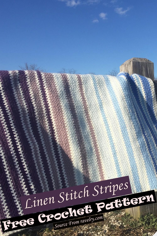 Free Crochet Linen Stitch Stripes Pattern