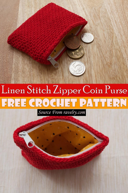 Free Crochet Linen Stitch Zipper Coin Purse Pattern