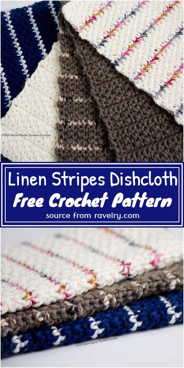Free Crochet Linen Stripes Dishcloth Pattern