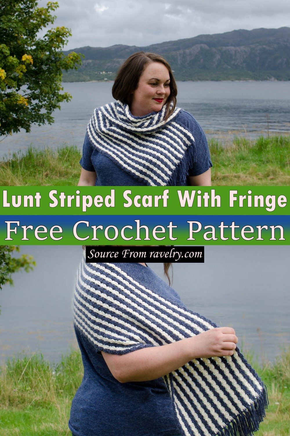 Free Crochet Lunt Striped Scarf With Fringe Pattern