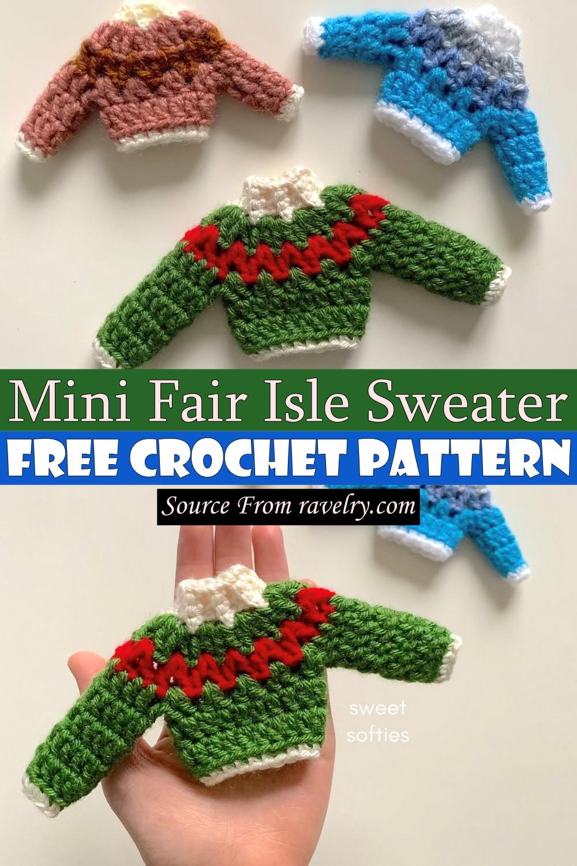 Free Crochet Mini Fair Isle Sweater Pattern