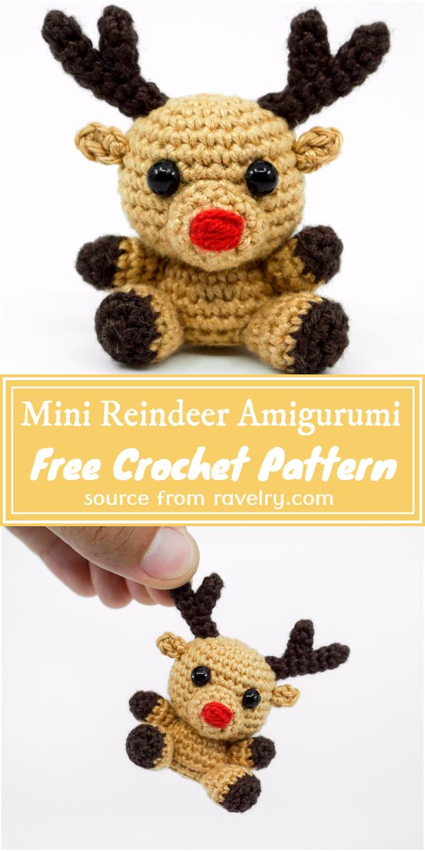 Free Crochet Mini Reindeer Amigurumi Pattern
