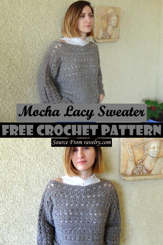 Free Crochet Mocha Lacy Sweater Pattern