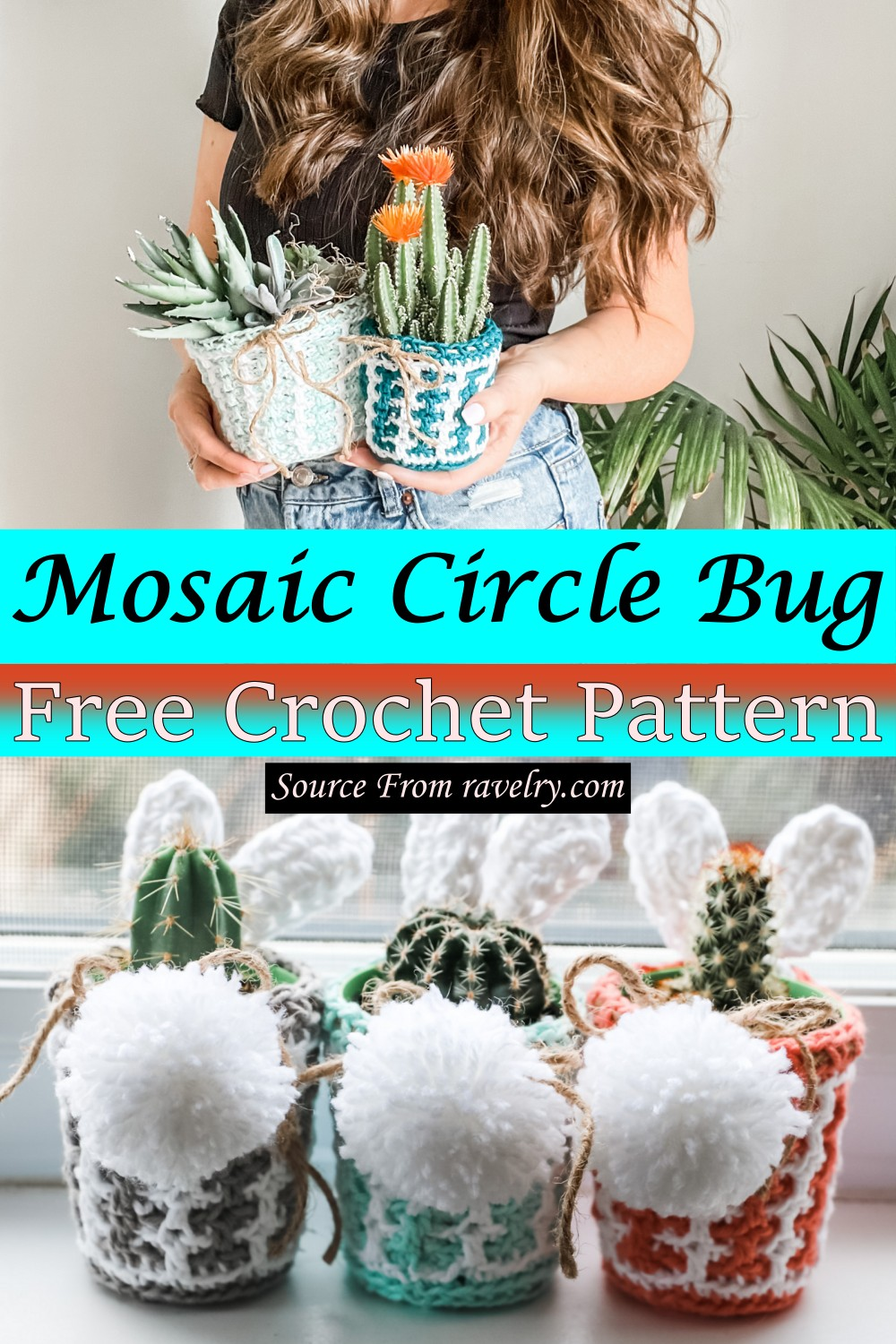 Free Crochet Mosaic Easter Pot Cover Pattern