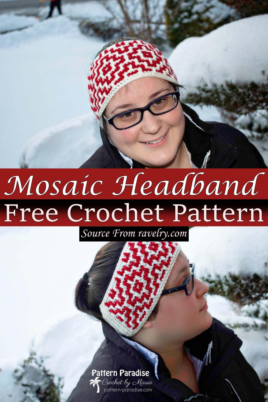 Free Crochet Mosaic Headband Pattern