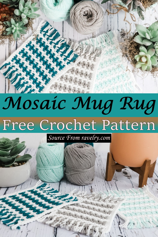 Free Crochet Mosaic Mug Rug Pattern
