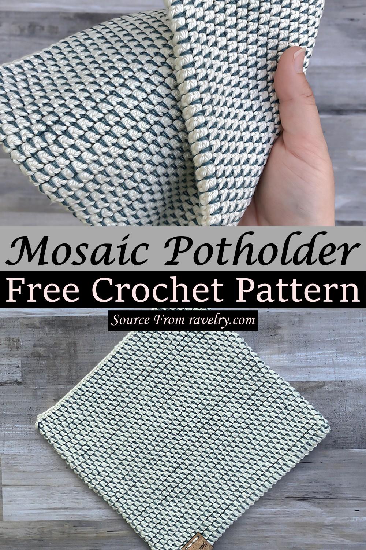 Free Crochet Mosaic Potholder Pattern