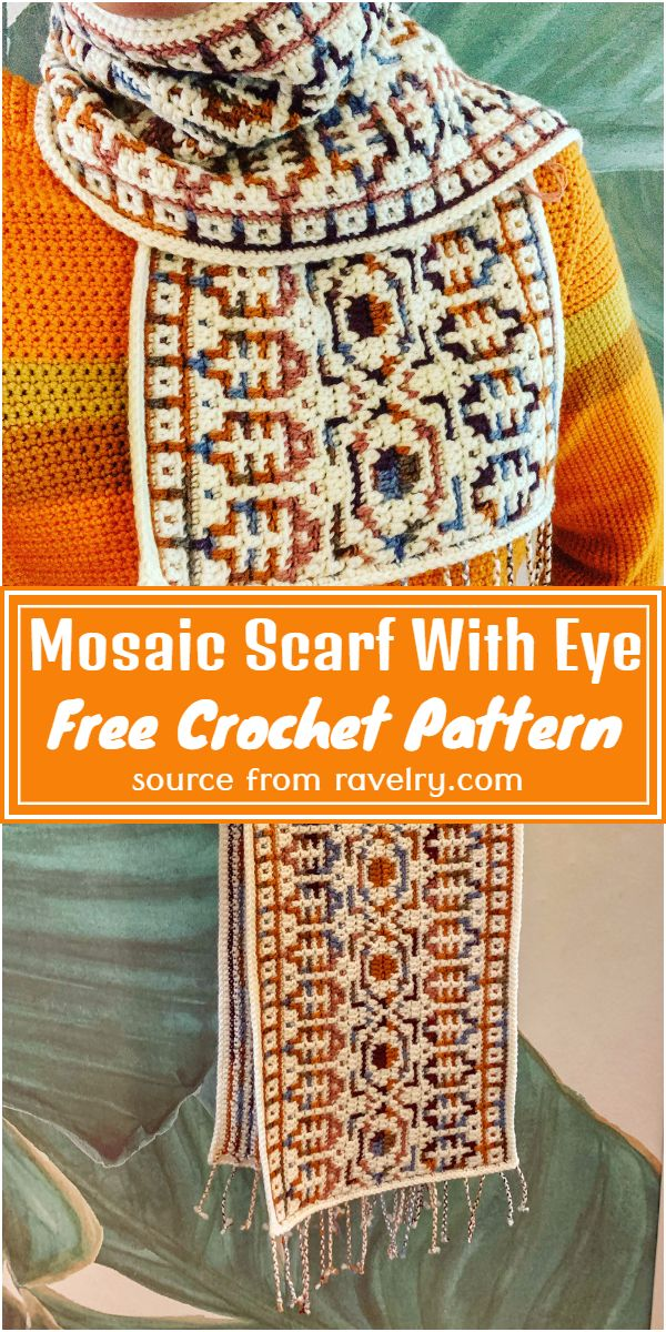 Free Crochet Mosaic Scarf With Eye Pattern