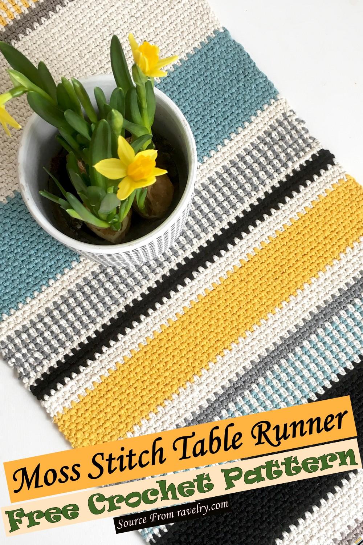 Free Crochet Moss Stitch Table Runner Pattern