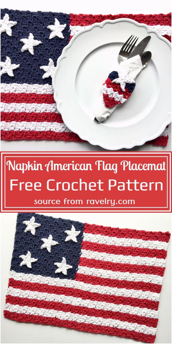 Free Crochet Napkin American Flag Placemat Pattern
