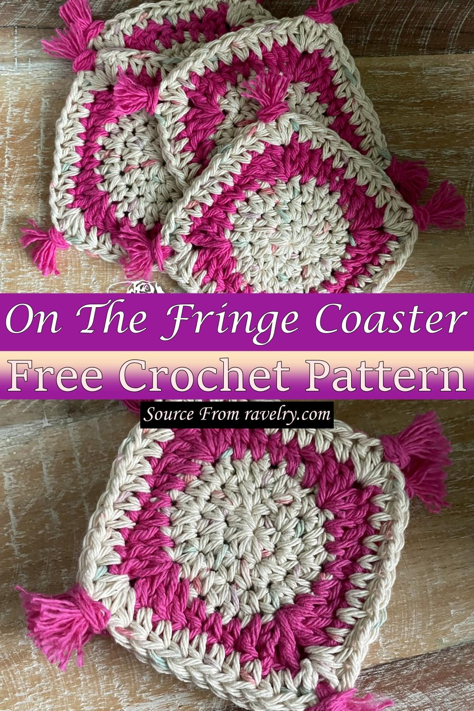 Free Crochet On The Fringe Coaster Pattern