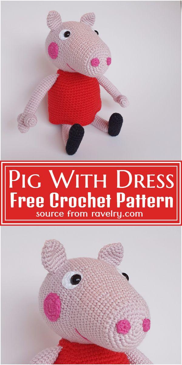 Free Crochet Pig With Dress Pattern