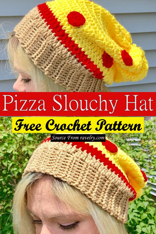 Free Crochet Pizza Slouchy Hat Pattern